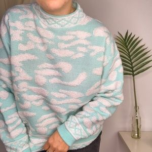 80s Fairy Kei Kawaii Aqua Zebra Mock Neck Sweater